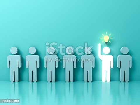 807463794istockphoto Stand out from the crowd and different concept , One glowing light man raising his hand with idea bulb among other people on light green pastel color background with reflections . 3D rendering 854329180