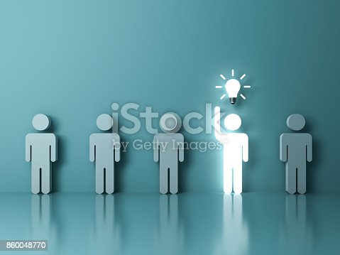 807463794istockphoto Stand out from the crowd and different concept , One glowing light man raising his hand got an idea bulb among other people on light green pastel color background with reflections . 3D rendering 860048770