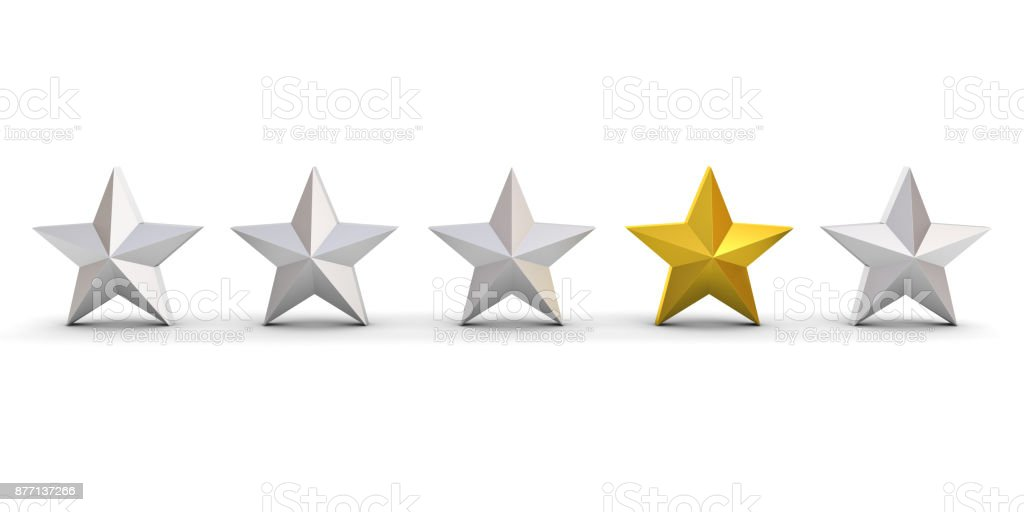 Stand out from the crowd and different concept , One gold star different from other silver stars isolated on white background with shadows . 3D render stock photo