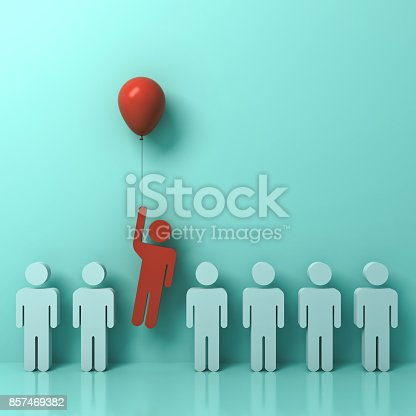 807463794istockphoto Stand out from the crowd and different concept , One man flying away from other people with red balloon on light green pastel color wall background with reflections and shadows . 3D rendering 857469382
