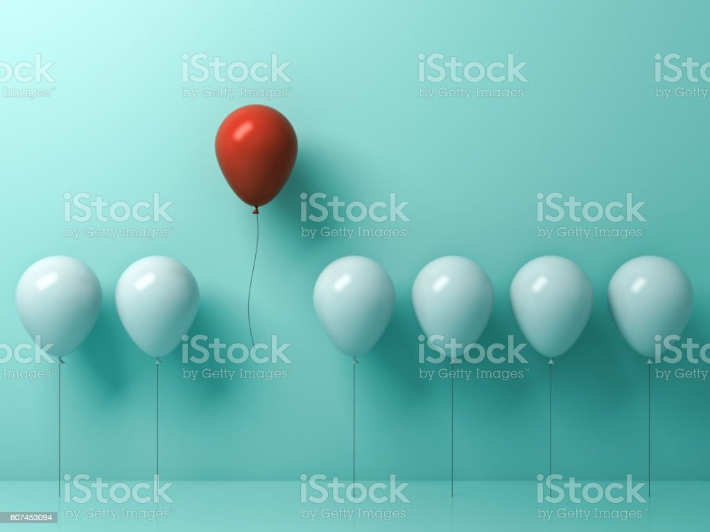 Stand out from the crowd and different concept , One red balloon flying away from other white balloons on light green pastel color wall background with reflections and shadows . 3D rendering stock photo