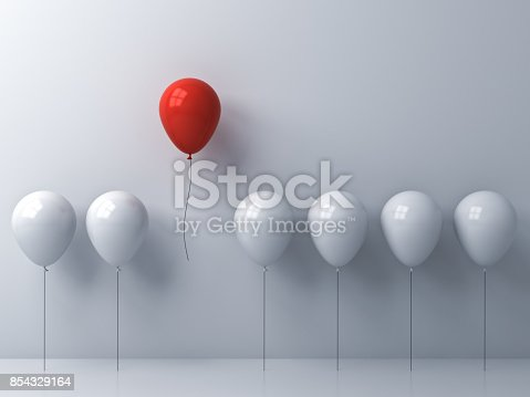 istock Stand out from the crowd and different concept , One red balloon flying away from other white balloons on white wall background with window reflections and shadows . 3D rendering 854329164