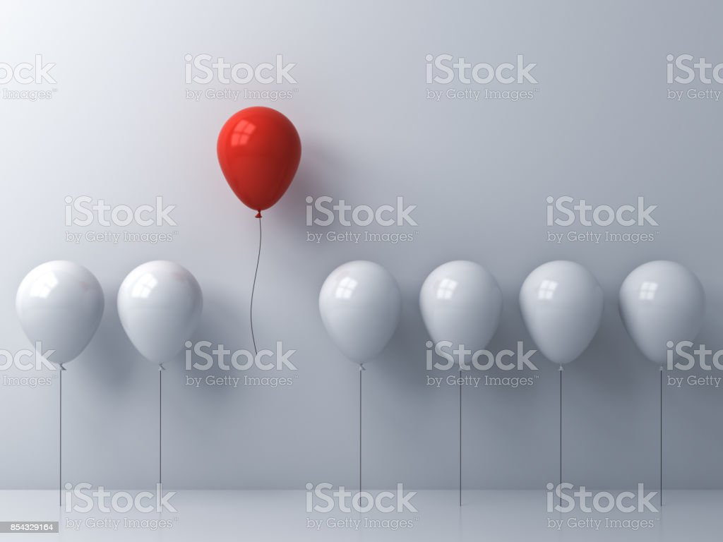 Stand out from the crowd and different concept , One red balloon flying away from other white balloons on white wall background with window reflections and shadows . 3D rendering stock photo