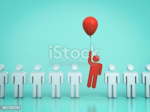istock Stand out from the crowd and different concept , One red man flying upward with red balloon out from other people on light green pastel color background with reflections and shadows . 3D rendering 807463794