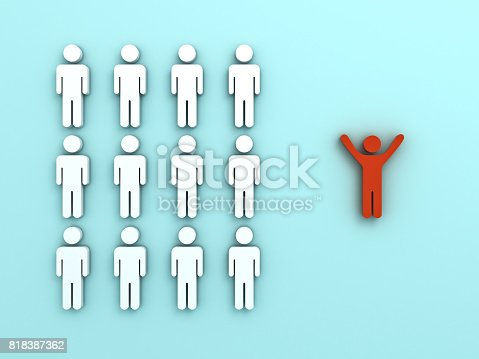 807463794istockphoto Stand out from the crowd and different concept , One red man standing with arms wide open isolated from other people on light green pastel color background with reflections and shadows . 3D rendering 818387362