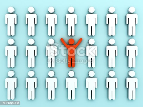 807463794istockphoto Stand out from the crowd and different concept , One red man standing with arms wide open among other people on light green pastel color background shadows . 3D rendering 822055028