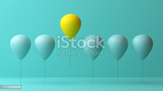 862670984 istock photo Stand out from the crowd and different concept , One yellow balloon flying away from other green balloons on light green pastel color wall background with reflections and shadows . 3D rendering 1215308939