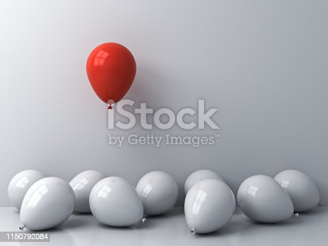 istock Stand out from the crowd and different concepts One red balloon floating above other white balloons on white wall background with window reflections and shadows 1150792084