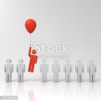 807463794istockphoto Stand out from the crowd and different creative idea concept One man flying away from other people with red balloon on white grey background with reflections 3D rendering 1001638592