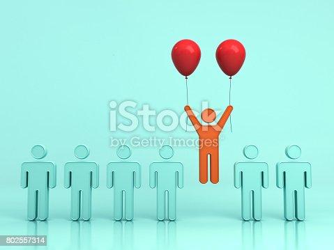 807463794istockphoto Stand out from the crowd and different creative idea concept , One man flying upward with two red balloons out from green people on light green background with reflections and shadows. 3D rendering 802557314