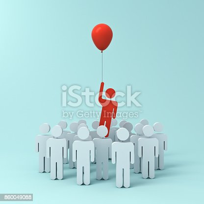807463794istockphoto Stand out from the crowd and different creative idea concept , One man flying away from other people with red balloon on light green pastel color background with shadows . 3D rendering 860049088
