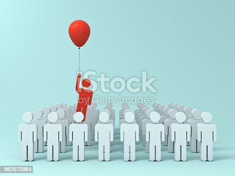 istock Stand out from the crowd and different creative idea concept , One man flying away from other people with red balloon on light green pastel color background with shadows . 3D rendering 862670984