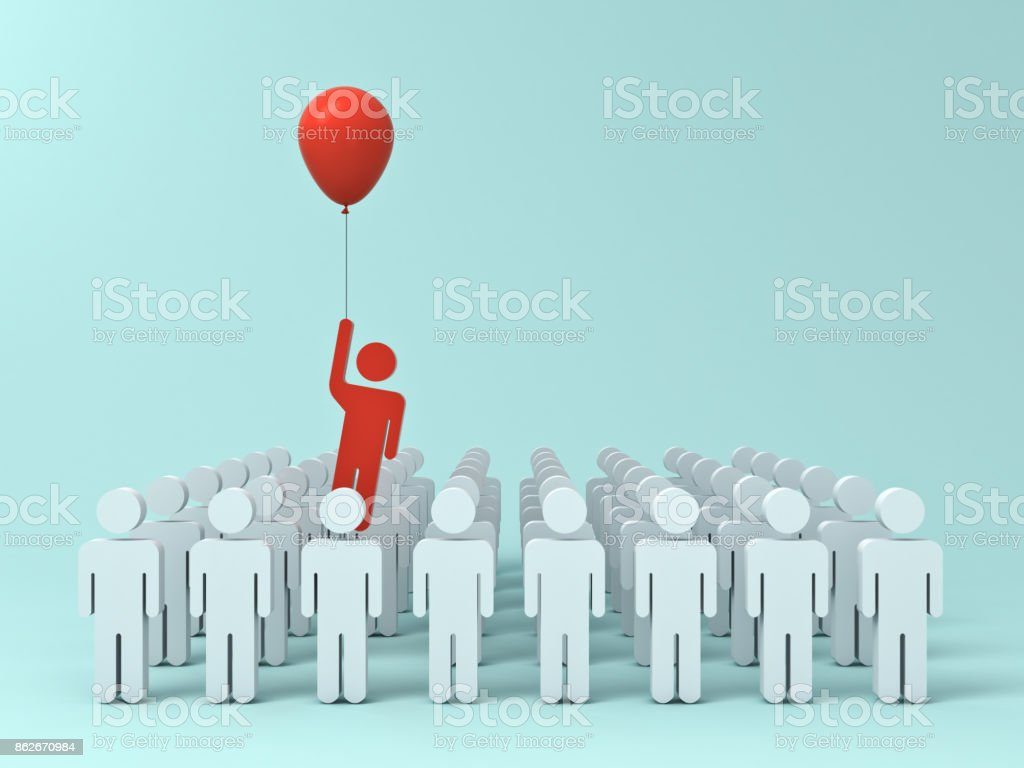 Stand out from the crowd and different creative idea concept , One man flying away from other people with red balloon on light green pastel color background with shadows . 3D rendering stock photo