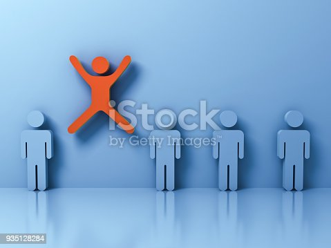 807463794istockphoto Stand out from the crowd and different creative idea concept , One man jumping with arms wide open among other people on light blue pastel color background with reflections and shadows 935128284