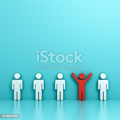 807463794istockphoto Stand out from the crowd and different creative idea concept , One red man standing with arms wide open among other people on green pastel color background with reflections and shadows . 3D rendering 818387502
