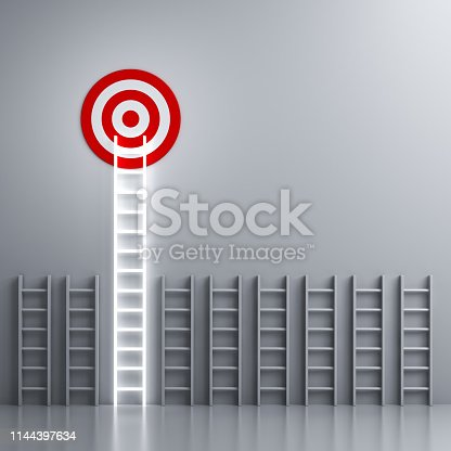 938669816 istock photo Stand out from the crowd and different creative idea concepts Longest neon light ladder glowing and aiming high to goal target among other short ladders on grey  background with shadows 1144397634