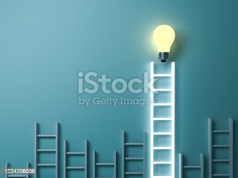 1127097479 istock photo Stand out from the crowd and different creative idea concepts Longest light ladder glowing with bright idea bulb among other short ladders on blue green pastel color background 1224206036