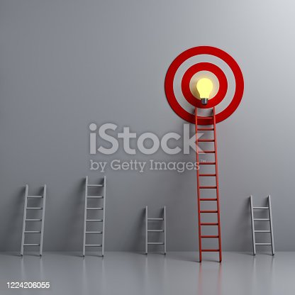 1026781012 istock photo Stand out from the crowd and different creative idea concepts Longest red ladder aiming high to goal target with bright idea bulb among other short ladders on dark white background 1224206055