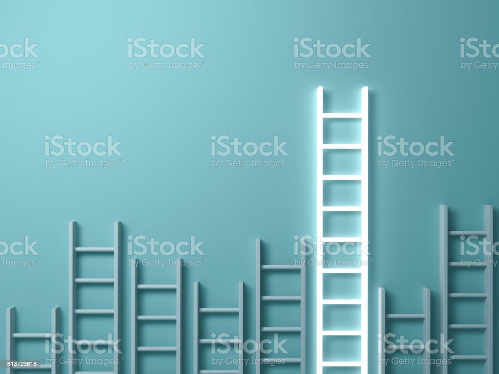 Stand out from the crowd and different creative idea concepts , Longest ladder glowing among other short ladders on light green background with shadows . 3D render royalty-free stock photo