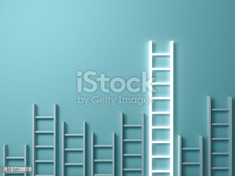 istock Stand out from the crowd and different creative idea concepts , Longest ladder glowing among other short ladders on light green background with shadows . 3D render 813729818