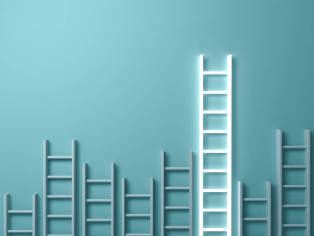 Stand out from the crowd and different creative idea concepts , Longest ladder glowing among other short ladders on light green background with shadows . 3D render stock photo