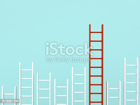 istock Stand out from the crowd and different creative idea concepts , Longest red ladder among other short white ladders on light green pastel color background . 3D rendering 818387434