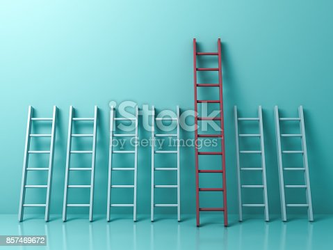 istock Stand out from the crowd and different creative idea concepts , Longest red ladder among other short white ladders on light green pastel color background . 3D rendering 857469672