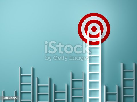 938669816 istock photo Stand out from the crowd and different creative idea concepts , Longest light ladder glowing and aiming high to goal target among other short ladders on green background with shadows . 3D rendering 958939552