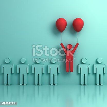807463794istockphoto Stand out from the crowd and different creative idea concepts , One man flying upward with two red balloons out from green people on light green background with reflections and shadows. 3D render 698892934