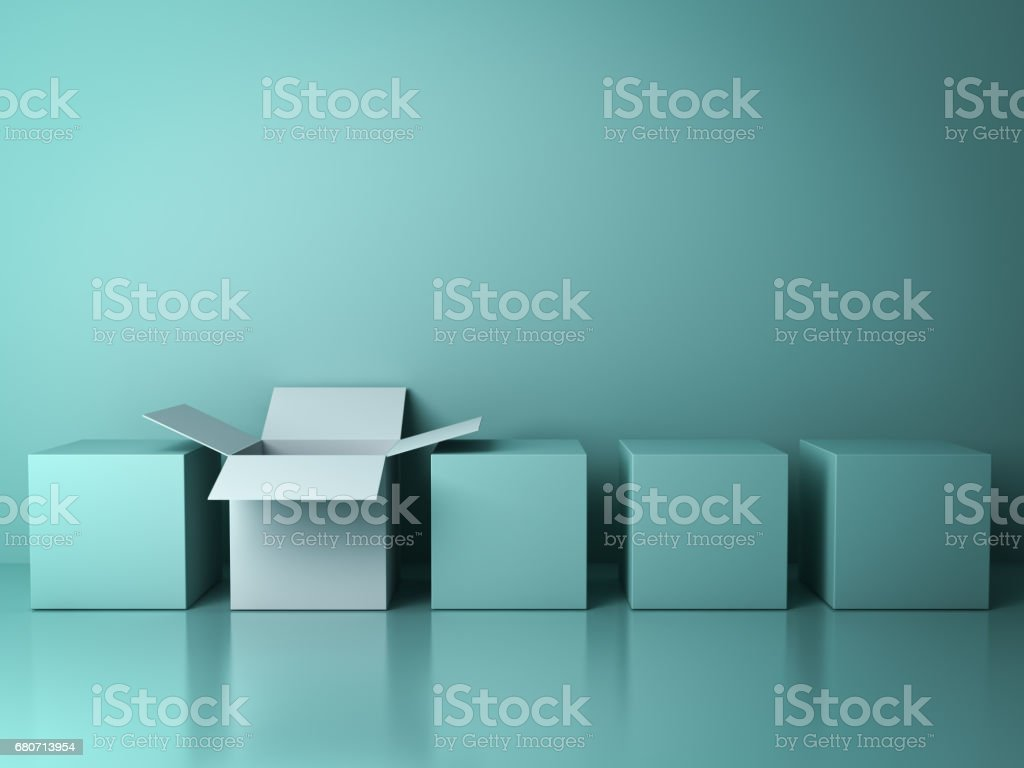 Stand out from the crowd and different creative idea concepts , One white open box among closed green square boxes on green background in the row with reflections and shadows . 3D render stock photo