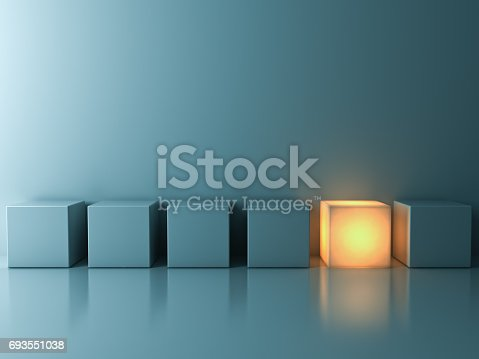 istock Stand out from the crowd and different creative idea concepts , One glowing cube standing among green cubes on green background in the row with reflections and shadows 693551038