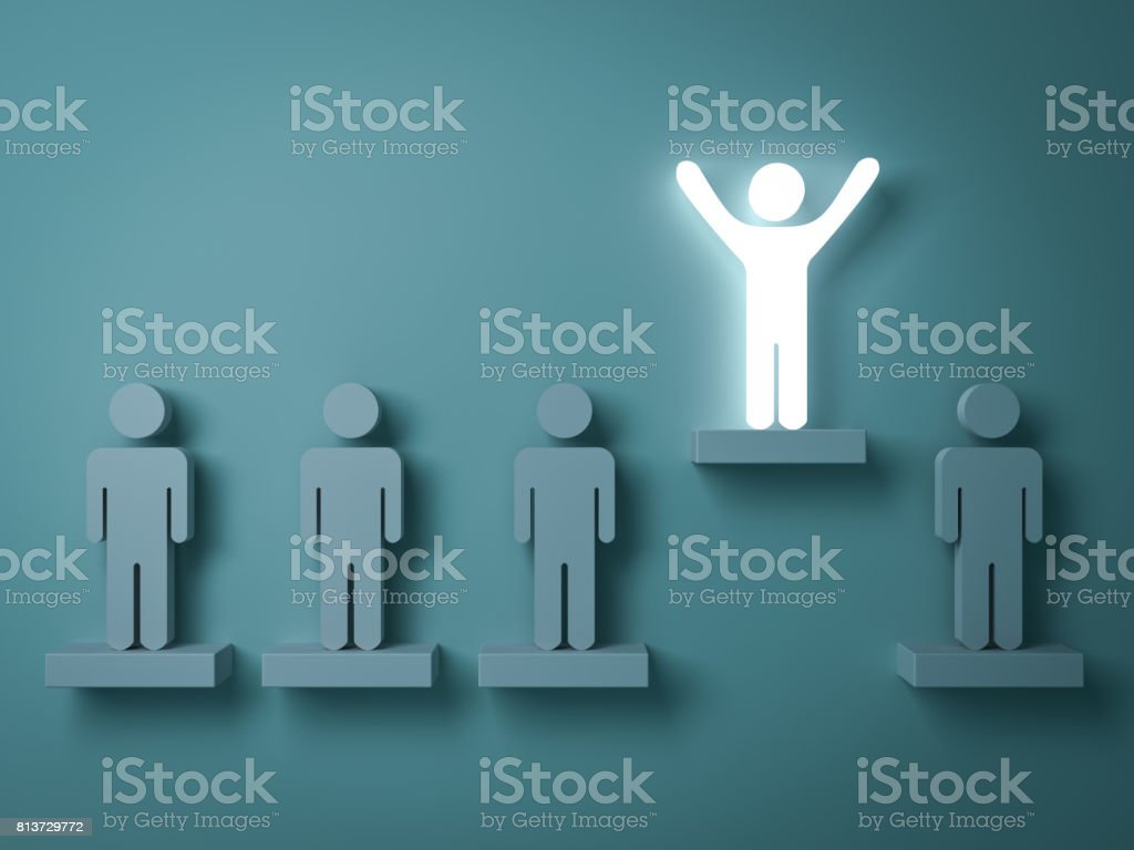 Stand out from the crowd and different creative idea concepts , One glowing light man standing with arms wide open above other people on green background with reflections and shadows . 3D rendering stock photo