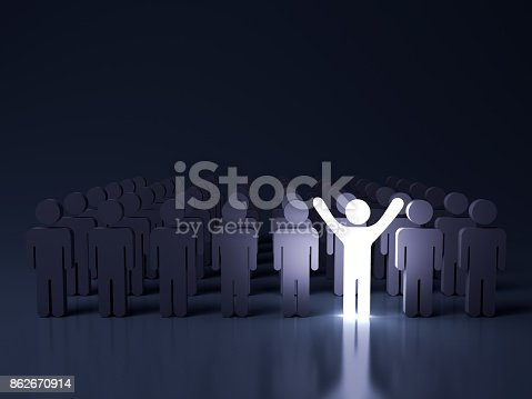 807463794istockphoto Stand out from the crowd and different creative idea concepts , One glowing light man standing with arms wide open among other people in the row on dark blue background with reflection . 3D rendering 862670914