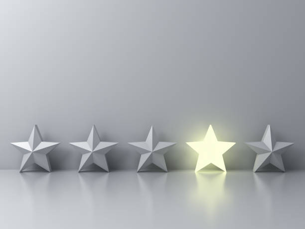 Stand out from the crowd and different creative idea concepts , One glowing star standing among other dim stars on grey background with reflections and shadows . 3D render - foto stock