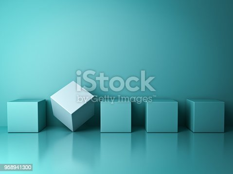 istock Stand out from the crowd and different creative idea concepts , One white box standing among green square boxes in the row on green pastel color background with reflections and shadows . 3D rendering 958941300