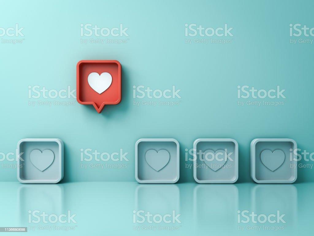 Sticka ut från mängden och olika kreativa idé koncept en röd 3D sociala medier anmälan kärlek som hjärta stift ikonen dyker upp från andra på ljusgrön pastellfärgad vägg bakgrund 3D-rendering - Royaltyfri Abstrakt Bildbanksbilder