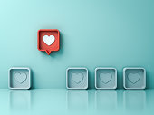 istock Stand out from the crowd and different creative idea concepts One red 3d social media notification love like heart pin icon pop up from others on light green pastel color wall background 3D rendering 1136680688