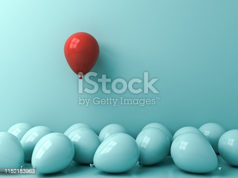istock Stand out from the crowd and different creative idea concepts One red balloon floating above other blue balloons over green blue pastel color wall background with reflections and shadows 3D rendering 1152183963