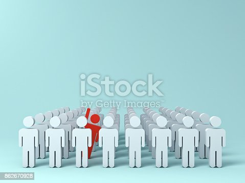 istock Stand out from the crowd and different creative idea concepts , One red man raising his hand among other white people on light green pastel color background with shadows . 3D rendering 862670928