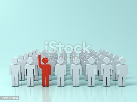 istock Stand out from the crowd and different creative idea concepts , One red man raising his hand among other white people on green pastel color background with shadows and reflections . 3D rendering 862671084