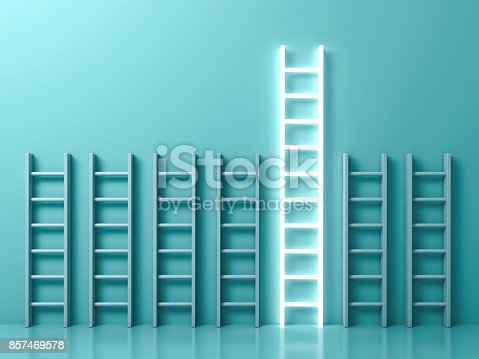 istock Stand out from the crowd and different creative idea concepts , The longest light ladder glowing among other short ladders on light green background with shadows . 3D rendering 857469578