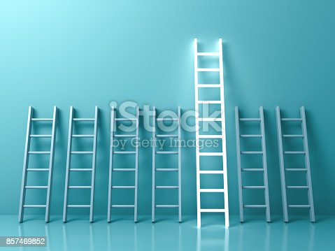 istock Stand out from the crowd and different creative idea concepts , The longest light ladder glowing among other short ladders on light green pastel color background with shadows . 3D rendering 857469852