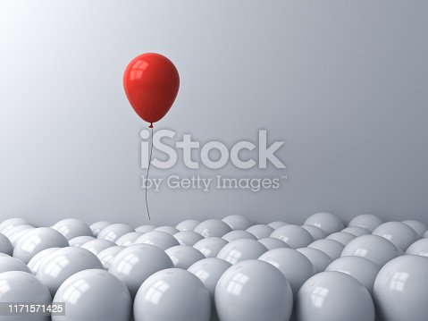 istock Stand out from the crowd and different or think outside the box creative idea concepts One red balloon floating above other white balloons on white background with window reflections 1171571425