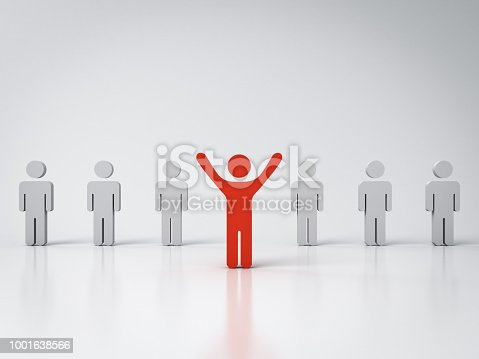 807463794istockphoto Stand out from the crowd and Leadership concepts One red man standing with arms wide open in front of other people on white background with reflections and shadows 3D rendering 1001638566