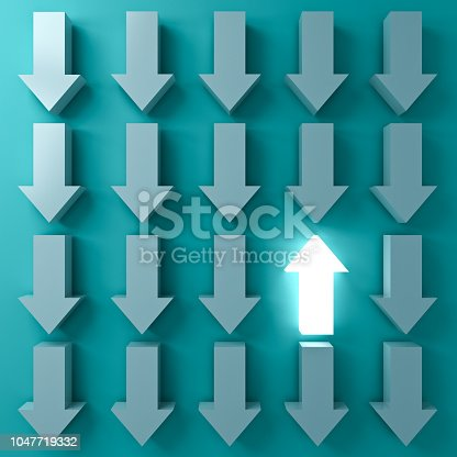 istock Stand out from the crowd and Think different concepts One light up arrow glowing  among other down arrows on dark green pastel color background with shadows 3D rendering 1047719332