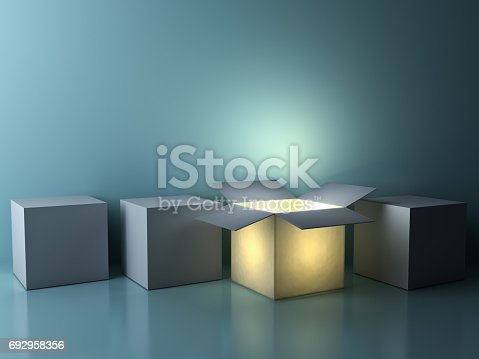 istock Stand out from the crowd , different creative idea concepts , One luminous opened box glowing among closed white square boxes on dark green background with reflections and shadows 692958356