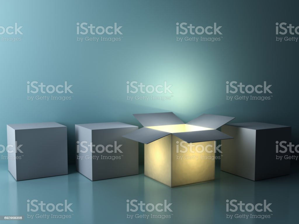 Stand out from the crowd , different creative idea concepts , One luminous opened box glowing among closed white square boxes on dark green background with reflections and shadows stock photo