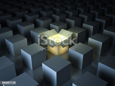 istock Stand out from the crowd , different creative idea concepts , One luminous opened light box glowing among closed white square boxes on dark background with reflections and shadows. 3D render 693551128
