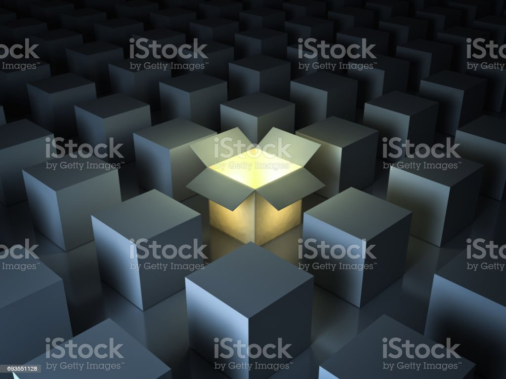 Stand out from the crowd , different creative idea concepts , One luminous opened light box glowing among closed white square boxes on dark background with reflections and shadows. 3D render stock photo