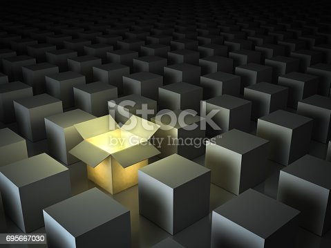 istock Stand out from the crowd , different creative idea concepts , One luminous opened light box glowing among closed white square boxes on dark background with reflections and shadows. 3D render 695667030
